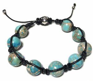 Mens Womens Turquoise Beaded Shamballa  Surfer Style Bracelet