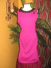 TAHARI NWT 16 $198 magenta pink women's dress black neckline fabric decor