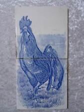 2 x Ceramica Mattonelle Mattonelle - Motivo Gallo - Vintage - circa 1900