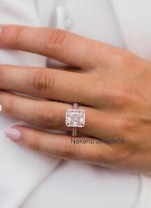 3Ct Radiant White Sparkle Moissanite Halo Engagement Ring Solid 14K Rose Gold