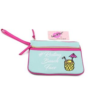Betsey Johnson Blue Pink Summer Pouch Wristlet Beach Face Zipper $24 NWT