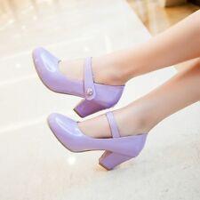 Women's Lolita Round Toe Mary Janes Round Toe Block High Heels Sandals Shoes Sz