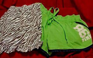 2 pair Victoria's Secret PINK shorts Sz M Zebra Print / Green & White