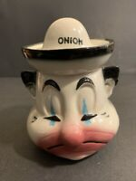 American Bisque Pottery Covered Onion Jar Clown Mid Century