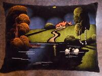 Vintage Black Velvet Painting Pillow Farmhouse Flea Market Country Decorating