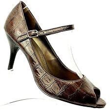 Predictions Womens Peep Toe Ankle Strap Pump Brown Croc Print Size 9 Shoes
