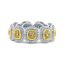 5.50CT 18K Gold Fancy Yellow Cushion Diamond Eternity Ring Anniversary Wedding
