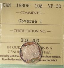 1880H Canada Silver 10 Cents - ICCS VF-30  -  Serial # X0X 209