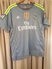 """REAL MADRID Mens Grey FIFA World 2015 ADIDAS Away Kit Football Shirt L 44"""" Chest"""