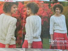 Lace Cropped Sleeve Sweater Jumper Knitting Pattern
