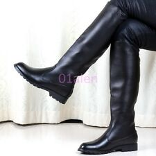 HOT Mens Back Zipper Knee High Riding Boots Combat Military Long Leather Shoes