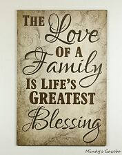 WOOD SIGN LOVE FAMILY BLESSING HANDMADE RUSTIC SIGNS PRIMITIVE HOME WALL DECOR