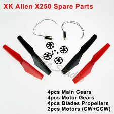 For Wltoys XK Alien X250 Main Motor+Main Gear+Blade Propellers Set Spare Parts