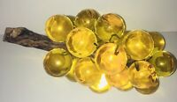 Vintage Grape Cluster Mid Century Amber Lucite Acrylic Driftwood Weights 3.8 lbs