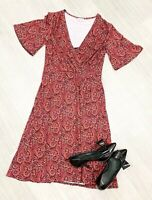 Brora A Line Paisley Dress Red Mix Short Sleeve Sz 10 Fashion Occasion