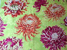 Kaffe Fassett Cotton Fabric Metre Floating Mums Lime Green Chrysanthemum 1m