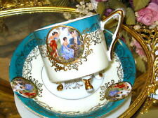 Royal Halsey 3 Footed Cup Saucer Turquoise & Gold Cherub/Angel Portrait Teacup
