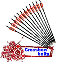 12X Crossbow Bolts Flat Nock Fiberglass Arrows for Archery Hunting Outdoor