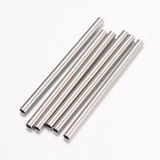 50PCS 304 Stainless Steel Tube Beads Spacer Metal Bead 25x1.5mm Hole 1mm
