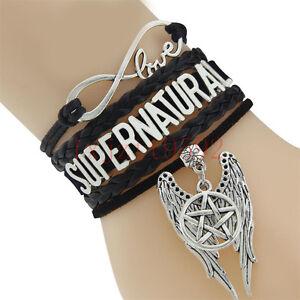 10PCS CUSTOMAMA Infinity Love Supernatural Wrap Bracelet Pentagram Wings Charm