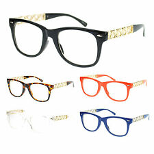 Womens Heart Metal Chain Arm Horn Rim Plastic Frame Nerdy Clear Lens Eye Glasses