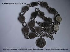 Vintage Neckless. 16 x1955 Cyprus 3 Mils Coins-1 Penny Coin 34 ins Long AH9942.