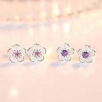 Orecchini in argento 925 con fiore di cristallo rosa Sakura argento sterling