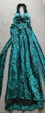 Turquoise backless lined embellished ball gown formal floral dress size 4 UK 10