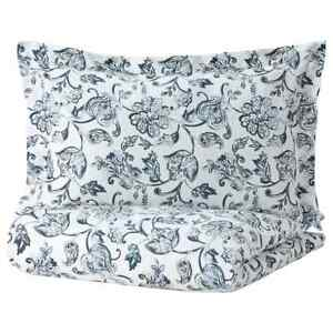 IKEA JUNIMAGNOLIA Duvet Cover Pillowcase White Dark Blue Twin Full/Queen King