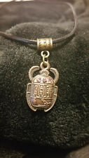 ☽✪☾ Egyptian Scarab Beetle With Pink Gems Bronze Tone Pendant Leather Necklace
