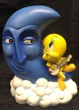 Vtg Warner Brothers Looney Tunes Tweety Bird on Blue Moon Face Coin Piggy Bank