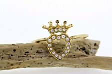 Victorian Crowned Heart Ring Pearls 14k Yellow Gold Antique Seed Pearls Sz 6.75
