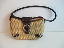 Brighton Straw Wicker Handbag Leath