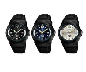 Casio Men's MW600F Black Resin with Silver/Blue/Black Dial Water Resistant Watch