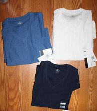 NWT Mens CALVIN KLEIN Navy Blue White V-Neck Shirt Size L Large