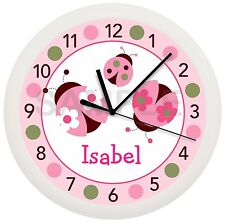 Pink Ladybug Wall Clock Nursery Decor Children'S Personalized Green