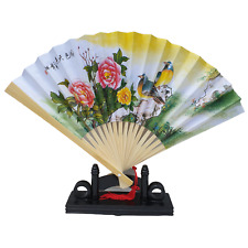 Chinese Fan - Paper and Bamboo - Painted Doves Picture - 23cm