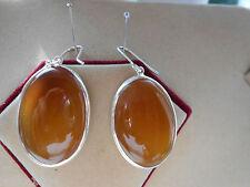 925 Hall Mark Sterling Silver Beige Oval Large Onyx Dangle Earrings (NEW) E19/3