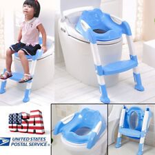 Blue Baby Kids Potty Training Seat with Step Stool Ladder Toddler Toilet Chair