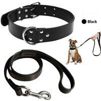 Heavy Duty Genuine Leather Dog Collars and Leash for Small to Large Dogs Black