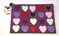 Modern Expressions Heart Pouch Purple raised Hearts NWT 8.5 x 6 in