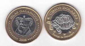 GALAPAGOS ISLANDS – RARE BIMETAL 5$ UNC COIN 2008 YEAR TURTLE