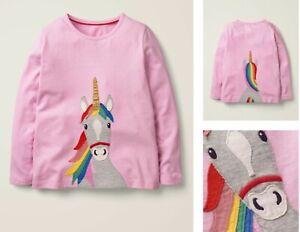Girls MINI BODEN Unicorn Top Pink Rainbow Applique Cotton Long Sleeve T-shirt