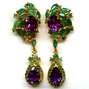 NATURAL PURPLE AMETHYST, EMERALD, TSAVORITE & CZ EARRINGS 925 STERLING SILVER