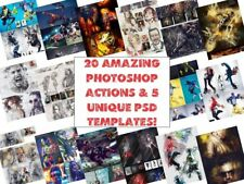 20 amazing Photoshop action & 5 unique PSD templates! Digital Download!