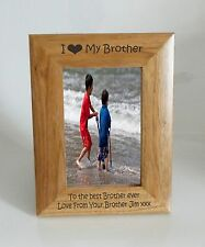 Brother Photo Frame - I heart-Love My Brother 4 x 6 Photo Frame - Free Engraving