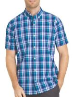 New Izod Plaid Shirt Short Sleeve SS S Small Cool FX Blue Purple Mens