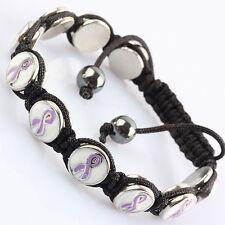 White Coin Purple Ribbon Bead Knit Adjust Bracelet Alzheimer's Disease Awareness
