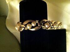 Old Trifari Patent Pending Gold Tone, Pearl Bead & Crystal Rhinestone Bracelet