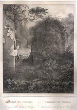 1829 Napoli Sepolcro di Virgilio Cuciniello e Bianchi litografia
